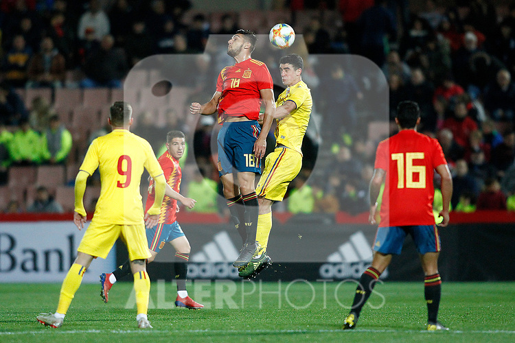 (L-R) Spain's Rafa Mir, Spain's Pedro Porro and Romania's Draghici Stephan    during the International Friendly match on 21th March, 2019 in Granada, Spain. (ALTERPHOTOS/Alconada)