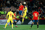 (L-R) Spain's Rafa Mir, Spain's Pedro Porro and Romania's Draghici Stephan    during the International Friendly match on 21th March, 2019 in Granada, Spain. (ALTERPHOTOS/Alconada)