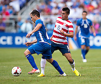 Rodolfo Zelaya, Joe Corona.  The United States defeated El Salvador, 5-1, during the quarterfinals of the CONCACAF Gold Cup at M&T Bank Stadium in Baltimore, MD.