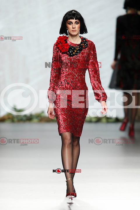 A model showcases designs by Francis Montesinos on the runway at the Francis Montesinos show during Mercedes Benz Fashion Week Madrid Fall/Winter 2013/14 at Ifema. February 18, 2013. (ALTERPHOTOS/Caro Marin) /NortePhoto