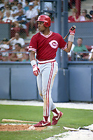 Cincinnati Reds Barry Larkin (11) during spring training circa 1990 at Chain of Lakes Park in Winter Haven, Florida.  (MJA/Four Seam Images)