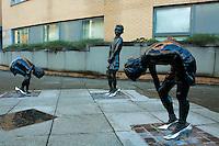 Glasgow Boys sculpture by Oscar Marzaroli, The Gorbals, Glasgow