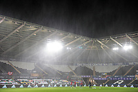 SWANSEA, WALES - NOVEMBER 12: Rain drenched Liberty stadium before a game between Wales and USMNT at Liberty Stadium on November 12, 2020 in Swansea, Wales.