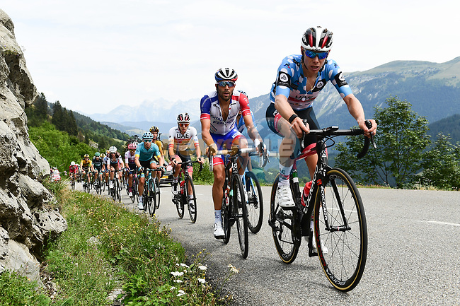 Polka Dot Jersey David de la Cruz (ESP) UAE Team Emirates, Thibaut Pinot (FRA) Groupama-FDJ, Tadej Pogacar (SLO) UAE and the rest of the chase group on the Col de la Colombière during Stage 5 of Criterium du Dauphine 2020, running 153.5km from Megeve to Megeve, France. 16th August 2020.<br /> Picture: ASO/Alex Broadway   Cyclefile<br /> All photos usage must carry mandatory copyright credit (© Cyclefile   ASO/Alex Broadway)