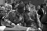 INLA soldiers in disguise at the Funeral of Joe McDonnell the Fifth Hunger Striker to die, 1980s. Belfast The Troubles July 1981.
