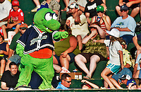 30 June 2012: Vermont Lake Monsters Mascot Champ entertains the crowd during a game against the Lowell Spinners at Centennial Field in Burlington, Vermont. Mandatory Credit: Ed Wolfstein Photo
