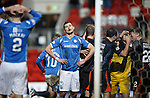 St Johnstone v Kilmarnock....09.01.16  Scottish Cup  McDiarmid Park, Perth<br /> Graham Cummins can't believe the save Jamie MacDonald makes as the killie players congratulate MacDonald<br /> Picture by Graeme Hart.<br /> Copyright Perthshire Picture Agency<br /> Tel: 01738 623350  Mobile: 07990 594431