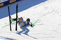 21st February 2021; Cortina d'Ampezzo, Italy; FIS Alpine World Ski Championships 2021 Cortina Men's Slalom; Sebastian Foss-Solevaag (NOR) drops in celebration as he finished as winner