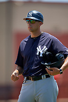 GCL Yankees East coach Dan Fiorito during a Gulf Coast League game against the GCL Phillies West on August 3, 2019 at the Carpenter Complex in Clearwater, Florida.  The GCL Yankees East defeated the GCL Phillies West 4-0, the second game of a doubleheader.  (Mike Janes/Four Seam Images)