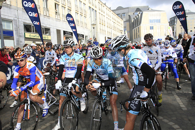 Riders line up for start of the 98th edition of Liege-Bastogne-Liege outside the Palais des Princes-Eveques, running 257.5km from Liege to Ans, Belgium. 22nd April 2012.  <br /> (Photo by Eoin Clarke/NEWSFILE).