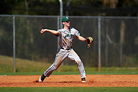 Dartmouth Big Green third baseman Connor Bertsch (23) throws to second base during a game against the Omaha Mavericks on February 23, 2020 at North Charlotte Regional Park in Port Charlotte, Florida.  Dartmouth defeated Omaha 8-1.  (Mike Janes/Four Seam Images)