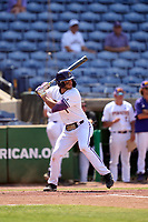 East Carolina Pirates Connor Norby (1) bats during a game against the Cincinnati Bearcats on May 26, 2021 at BayCare Ballpark in Clearwater, Florida.  (Mike Janes/Four Seam Images)