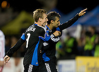 Chris Wondolowski of Earthquakes celebrates with Chris Leitch of Earthquakes after Wondolowski scored a goal during the second half of the game against Red Bull at Buck Shaw Stadium in Santa Clara, California.  San Jose Earthquakes defeated New York Red Bulls, 4-0.