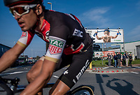 'Mommy's rebel' <br /> race leader (& eventual winner) Greg Van Avermaet (BEL/BMC) passing an E3 billboard in the last kilometers of the race<br /> <br /> 60th E3 Harelbeke (1.UWT)<br /> 1day race: Harelbeke › Harelbeke - BEL (206km)