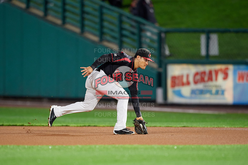 Rochester Red Wings second baseman Tommy Field (9) fields a ground ball during the second game of a doubleheader against the Scranton/Wilkes-Barre RailRiders on August 23, 2017 at Frontier Field in Rochester, New York.  Rochester defeated Scranton 1-0.  (Mike Janes/Four Seam Images)