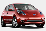 Low aggressive passenger side front three quarter view of a 2011 Nissan Leaf SL.