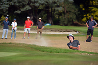 Kerry Mountcastle plays out of a bunker on the 18th during the fianl against Josh Geary. Day four of the Brian Green Property Group NZ Super 6s Manawatu at Manawatu Golf Club in Palmerston North, New Zealand on Sunday, 28 February 2021. Photo: Dave Lintott / lintottphoto.co.nz