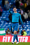 Goalkeeper Thibaut Courtois of Real Madrid waves to the fans after the La Liga 2018-19 match between Real Madrid and Rayo Vallencano at Estadio Santiago Bernabeu on December 15 2018 in Madrid, Spain. Photo by Diego Souto / Power Sport Images