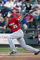 Oklahoma City RedHawks outfielder Justin Maxwell (25) heads down the first base line during the Pacific Coast League baseball game against the Round Rock Express on July 9, 2013 at the Dell Diamond in Round Rock, Texas. Round Rock defeated Oklahoma City 11-8. (Andrew Woolley/Four Seam Images)