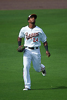 Bowie Baysox left fielder Julio Borbon (24) during the second game of a doubleheader against the Akron RubberDucks on June 5, 2016 at Prince George's Stadium in Bowie, Maryland.  Bowie defeated Akron 12-7.  (Mike Janes/Four Seam Images)