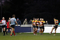 TRY - Richmond Rugby cross the line during the English National League match between Richmond and Blackheath  at Richmond Athletic Ground, Richmond, United Kingdom on 4 January 2020. Photo by Carlton Myrie.
