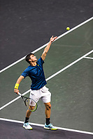 Rotterdam, The Netherlands, 3 march  2021, ABNAMRO World Tennis Tournament, Ahoy, First round doubles: Petros Tsitsipas (GRE).<br /> Photo: www.tennisimages.com/