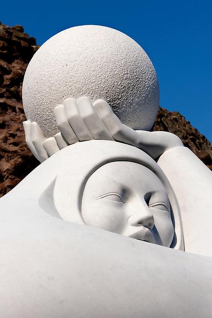 Modern sculpture by Jmenez Deredia in the Forum . Rome