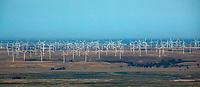 aerial photograph of the Shiloh wind power plant, Montezuma Hills, Solano County, California