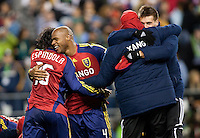 SEATTLE, WA--Real Salt Lake teammates Robbie Findley, and Fabian Espindola  celebrate their victory during the MLS Cup championships at Qwest field in Seattle. SUNDAY, NOVEMBER 22, 2009. PHOTO BY DON FERIA.