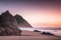 Sunset on Scott's Beach on Heaphy Track, Kahurangi National Park, West Coast, Buller Region, New Zealand