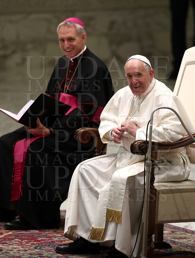 Pope Francis leads an audience with managers and members of the italian Football Federation (FIGC) and Gazzetta dello Sport newspaper, in Paul VI Hall at the Vatican, on May 24, 2019. <br /> UPDATE IMAGES PRESS/Isabella Bonotto<br /> <br /> STRICTLY ONLY FOR EDITORIAL USE