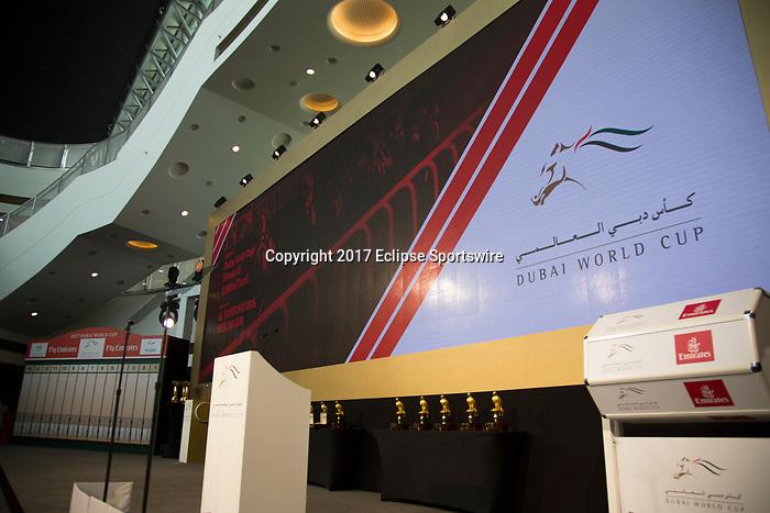 DUBAI,UNITED ARAB EMIRATES-MARCH 22:  Post Position Draw at Meydan racecourse on March 22,2017 in Dubai,United Arab Emirates (Photo by Kaz Ishida/Eclipse Sportswire/Getty Images)