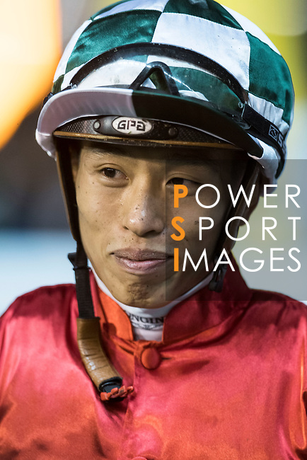 Jockey #7 Vincent Ho Chak-yiu riding Haymaker celebrates after winning the race 4 of Hong Kong Racing at Happy Valley Race Course on November 29, 2017 in Hong Kong, Hong Kong. Photo by Marcio Rodrigo Machado / Power Sport Images