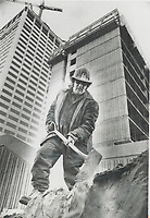 Among Luckier Workers in the Metro construction industry is Casimiro Pasquarelli. He has been working on Yonge Eglinton Centre for three years and has at least another year's work ahead. He is member of Local 183-about 1;600 of its 6;000 members are jobless. Thousands more are expected to be out of work.<br /> <br /> Photo : Boris Spremo - Toronto Star archives - AQP