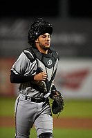 Lancaster JetHawks catcher Joel Diaz (5) during a California League game against the Inland Empire 66ers at San Manuel Stadium on May 18, 2018 in San Bernardino, California. Lancaster defeated Inland Empire 5-3. (Zachary Lucy/Four Seam Images)