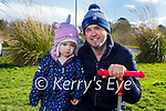 Isabelle Ryan taking her dad Neil for a walk in the Tralee Bay Wetlands on Sunday.