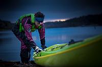 Ulrika Larsson night kayaking, West Sweden, Sweden