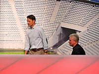 28.04.2018, Football 1. Bundesliga 2017/2018, 32.  match day, FC Bayern Muenchen - Eintracht Frankfurt, in Allianz-Arena Muenchen. li: Trainer Niko Kovac (Eintracht Frankfurt) and Trainer Jupp Heynckes (re, FC Bayern Muenchen) auf PK . *** Local Caption *** © pixathlon<br /> <br /> +++ NED out !!! +++<br /> Contact: +49-40-22 63 02 60 , info@pixathlon.de