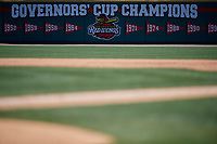 Rochester Red Wings Championship banner on the outfield wall during an International League game against the Scranton/Wilkes-Barre RailRiders on June 25, 2019 at Frontier Field in Rochester, New York.  Rochester defeated Scranton 10-9.  (Mike Janes/Four Seam Images)