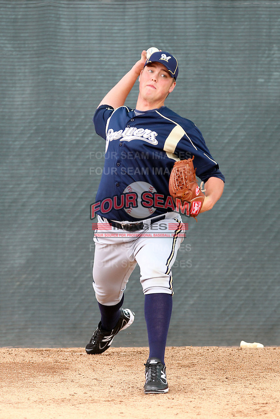 Jimmy Nelson #27 of the Milwaukee Brewers pitches in a minor league spring training game against the Chicago White Sox at the Brewers minor league complex on March 20, 2011  in Phoenix, Arizona. .Photo by:  Bill Mitchell/Four Seam Images.