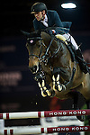 Simon Delestre on Stardust Quinhon competes during Longines Speed Challenge at the Longines Masters of Hong Kong on 20 February 2016 at the Asia World Expo in Hong Kong, China. Photo by Juan Manuel Serrano / Power Sport Images