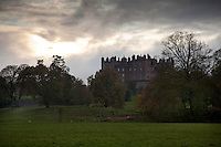 A dramatic south-east view of the pinnacled roofscape of Drumlanrig
