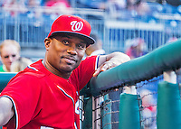 28 May 2016: Washington Nationals assistant hitting coach Jacque Jones stands in the dugout prior to a game against the St. Louis Cardinals at Nationals Park in Washington, DC. The Cardinals defeated the Nationals 9-4 to take a 2-games to 1 lead in their 4-game series. Mandatory Credit: Ed Wolfstein Photo *** RAW (ARW) Image File Available ***