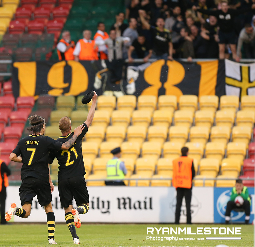 Daniel Sundgrens celebrates after scoring a goal with Kristoffer Olsson during the UEFA Europa League First Qualifying Round First Leg between Shamrock Rovers and AIK on Thursday 12th July 2018 at Tallaght Stadium, Dublin. Photo By Michael P Ryan