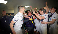 Pictured: Coach Gary RichardsOliver McBurnie and other players Monday 15 May 2017<br />Re: Premier League Cup Final, Swansea City FC U23 v Reading U23 at the Liberty Stadium, Wales, UK