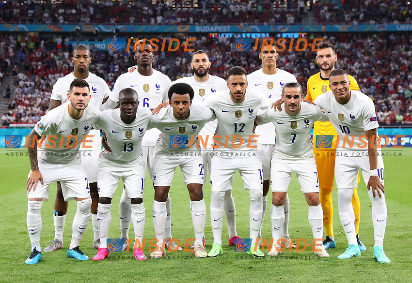 BUDAPEST, HUNGARY - JUNE 23: Players of France pose for a team photograph prior to the UEFA Euro 2020 Championship Group F match between Portugal and France at Puskas Arena on June 23, 2021 in Budapest, Hungary. (Photo by Alex Livesey - UEFA/UEFA via Getty Images)<br /> Photo Uefa/Insidefoto ITA ONLY