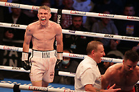 9th October 2021; M&S Bank Arena, Liverpool, England; Matchroom Boxing, Liam Smith versus Anthony Fowler; LIAM SMITH (Liverpool, England) celebrates after his 8th round knockout of ANTHONY FOWLER (Liverpool, England) to win  the WBA International Super-Welterweight Title