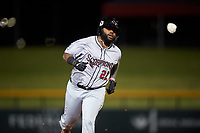 Scottsdale Scorpions Trey Harris (22), of the Atlanta Braves organization, rounds the bases after hitting a home run during an Arizona Fall League game against the Mesa Solar Sox on September 18, 2019 at Sloan Park in Mesa, Arizona. Scottsdale defeated Mesa 5-4. (Zachary Lucy/Four Seam Images)