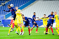 24th March 2021; Stade De France, Saint-Denis, Paris, France. FIFA World Cup 2022 qualification football; France versus Ukraine;  Adrien Rabiot (France) challenges for a header with Serhhiy Kryvtsov (Ukraine)