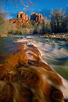 Oak Creek and Cathedral Rock<br />   from near Red Rock Crossing<br /> Coconino National Forest<br /> Colorado Plateau,  Arizona